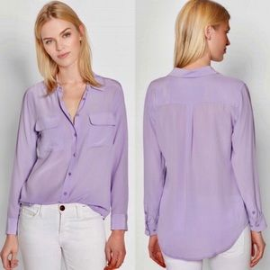 Equipment Lilac Silk Button Down Blouse